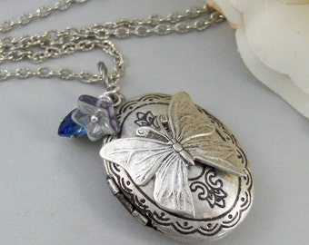 Ocean Butterfly,Necklace,Locket,Butterfly, Silver Locket, Butterfly Locket, Wings,Silver. Handmade Jewelry by valleygirldesigns on Etsy.