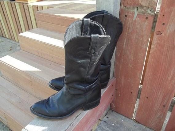Vintage 1980's Durango Slouch Boots, Black Leather,Silver Wingtip Toe, Mens 8 1/2, Ladies 9-91/2