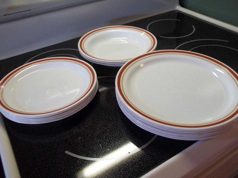 Vintage Corelle Dishes Chestnut Pattern 16 Pcs Plates Soup