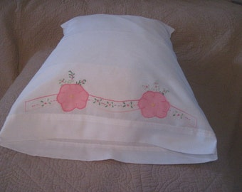 Vintage White Pillowcase with Pink Appliques and embroidery