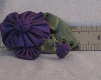 Handmade Deep Purple Silk Taffeta Brooch with Beaded Leaf and Chinese Knot Accents