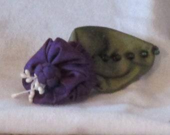 Handmade Deep Purple Silk Taffeta Flower Brooch with Chinese Knot