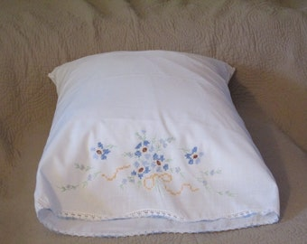 Vintage Embroidered Single Pillowcase with Crocheted Edging