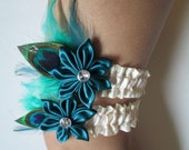 Peacock Feather Wedding Garter Set, Deep Teal / Jade Garters, Ivory Bridal Garter, Prom Garter