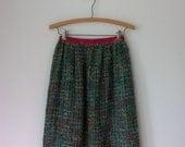 Vintage 60's Maxi Skirt ... Rainbow Mohair Loop Woven Sweater Skirt ... Small XS