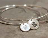 Personalized Handprint or Footprint and Initial Eternity Bangle - Footprint Eternity Bracelet - Handprint Bracelet - Handprint Bangle