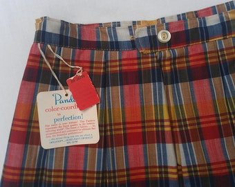 VINTAGE Old Store Stock 1960s GIRLS SKIRT Size8 Red Plaid