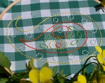 Paisley Printed Embroidery pattern pack -hand stamped on green & white gingham fabric with needlework supplies