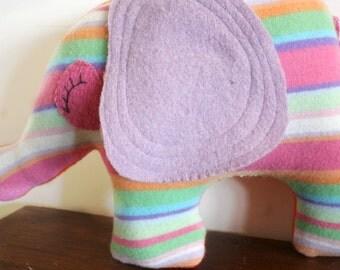 handmade elephant stuffed animal, plush, elephant pillow