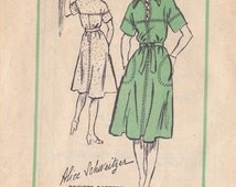 Misses Pullover Dress Pattern - Number M 186 Size 14 - Alice Schweitzer Design - Dropped Yoke - Cap Short Sleeves - Cut Complete