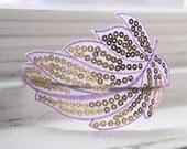 Sequined Leaf Headband - Tindra in Lavender