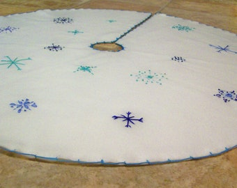 White Tree Skirt with Blue Hand Embroidered Snowflakes 36 inches Made to Order