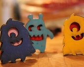 Laser cut monster magnets - set of two - based on original illustrations and hand-painted