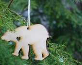 Laser cut wooden bear ornament