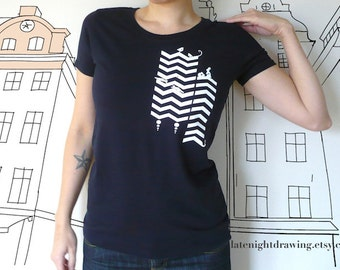 Printed T-shirt / Navy Chevron / Women's Tee / S M L, Graphic Screen Printed