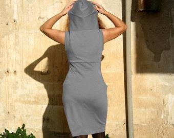 Womens Dress, Pocket dress with hoodie, Sleevless dress, Custom dress, Day dress, Casual dress, Handmade dress TasiFashion, Custom clothing
