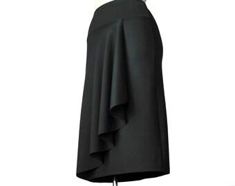 Wrap Skirt /Ruffle skirt / Black wrap skirt / Asymmetric custom skirt / handmade skirt by Tasi Fashion/ Plus size wrap skirt