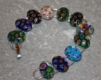 Lampwork Glass Bracelet with Colorful Floral Patterns