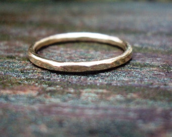 Jewelry, Ring, gold, 14k, filled, lightly faceted, hammered, simple, plain, 14g, sophisticated