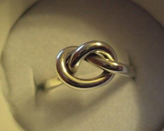 2mm thick and chunky, 925 silver love knot ring, personalized with engraving of your choice inside band,