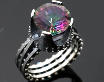 Studded -Castle Ring with Mystic Topaz