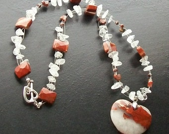 Red Jasper Heart Necklace with clear quartz chips and red jasper faceted rectangles-Rustic Ice-Burnt Sienna, Dark Red on Silver