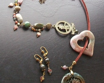India Agate Gemstone Heart and Dragon Focal Asymmetrical Necklace Set-The Happy Dragon-Mauve, Green, Burgundy with Brass on Brown Velvet