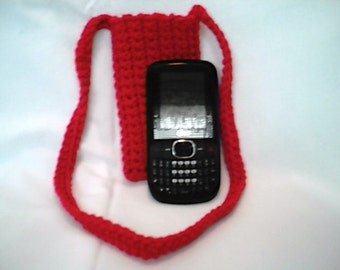 Crocheted Red Cross Body Cell Phone Pouch