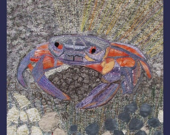 Small Quilt Art Wall Hanging Crab Applique Limited Edition