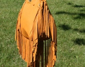 Fringe Bucket Bag in Golden Deerskin