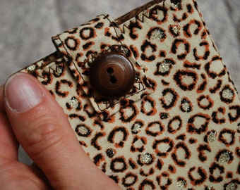 Small Womens wallet - leopard spots with a hint of sparkle FREE SHIPPING