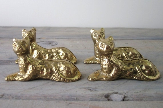Brass Cheetah Leopard Cat Place Card Holders Set of Four