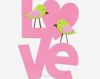 Baby Girl Nursery Art, Baby Girl Room Art, Kids Wall Art, Kids Room Decor, Birds, Pink, Green, Love Birds, 8x10 Print