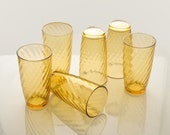 Anchor Hocking Amber Vintage Drinking Glasses - Set of Six