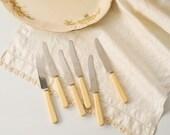 Vintage 1950's Faux Bone Tea Knife Set of 6