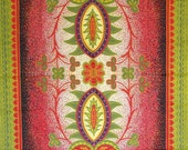 Ornate Indonesian fabric. Cotton, lawn, pattern, red, chartreuse, olive green, yellow.