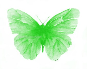green butterfly watercolor archival print