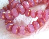 Czech pink rose opalite 6x8mm rondelle bead lot with picasso finish lot of (12) -SS182