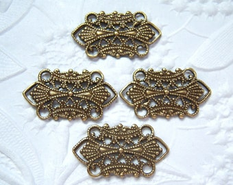 Antique brass  filigree connector lot of (4) MY167