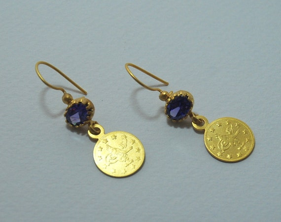 Gold Plated Ottoman Coins Purple Crystal Gemstone Sterling Silver Long Dangle Earrings