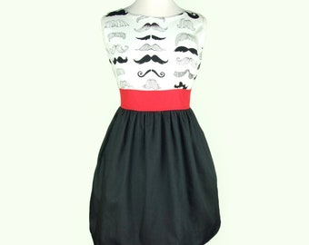 Plus Size Custom Made Mustache Dress Dress / Rockabiily Pinup Dress /  Your Measurements and you choose the Fabric