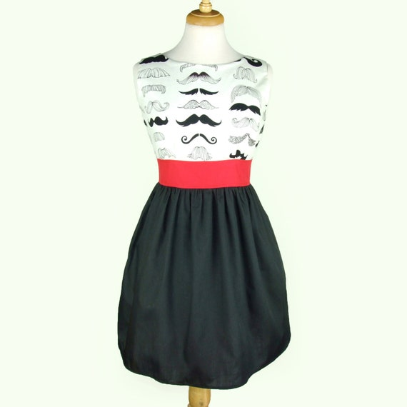 Custom Made Mustache Dress Dress / Rockabiily Pinup Dress /  Your Measurements and you choose the Fabric
