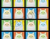 Ragdoll Cat Cartoon Pop-Art T-Shirt Tee - Men's, Women's Ladies, Short, Long Sleeve, Youth Kids (Flame)