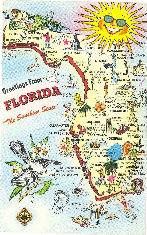 Good Day Sunshine Old Florida Village : Vintage florida postcard greetings from the sunshine state