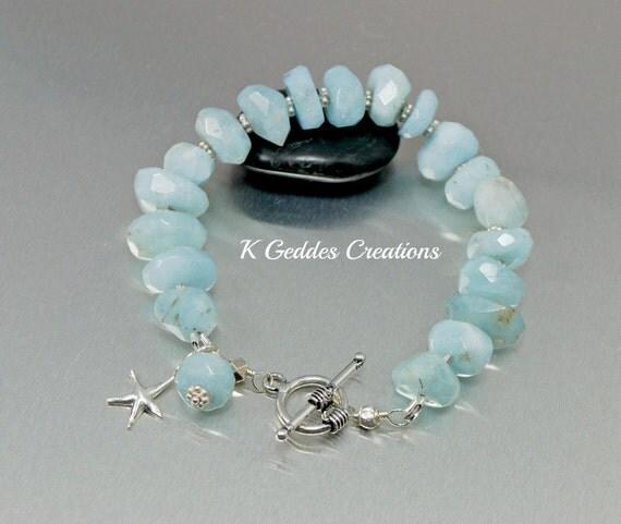 Aquamarine Nugget Bracelet Sterling Silver Handmade Chunky Blue Beaded Nugget Gemstone Bracelet Starfish Charm Bracelet March Birthstone