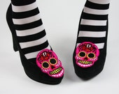 Sugar Skull Shoe Clips, Day of the Dead- Black FRiday Cyber Monday