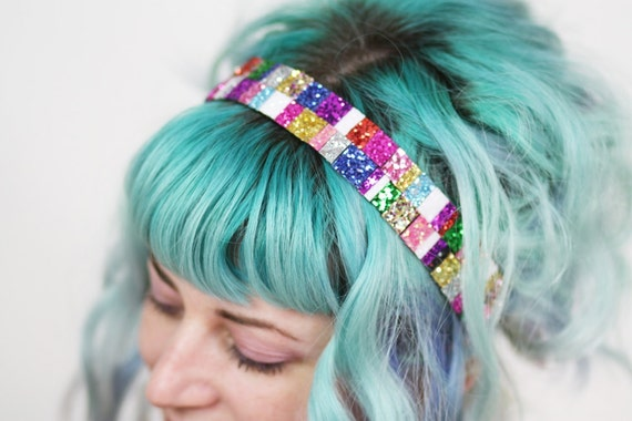 SUMMER Wide Glitter Headband, Recycled Scraps Bright Coloured Headband, OOAK