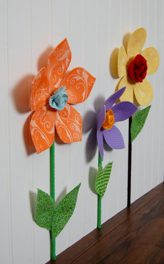 3d Wall Decal Fabric Flower Wall Flower Coral And Tiffany