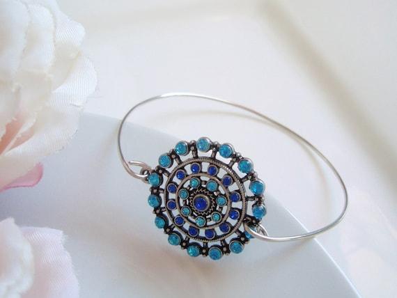 Silver Blue and Aqua Crystal Circle - Bohemian Stackable Bangle Bracelet