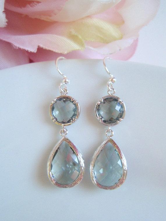 White Gold Framed - Double Drop Light Grey Czech Glass Earrings
